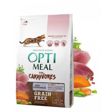 Беззерновой сухой корм для кошек Optimeal со вкусом утки и овощами