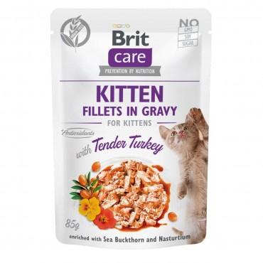 Влажный корм для котят Brit Care Cat pouch 85 г филе индейки в соусе (100531/0532)