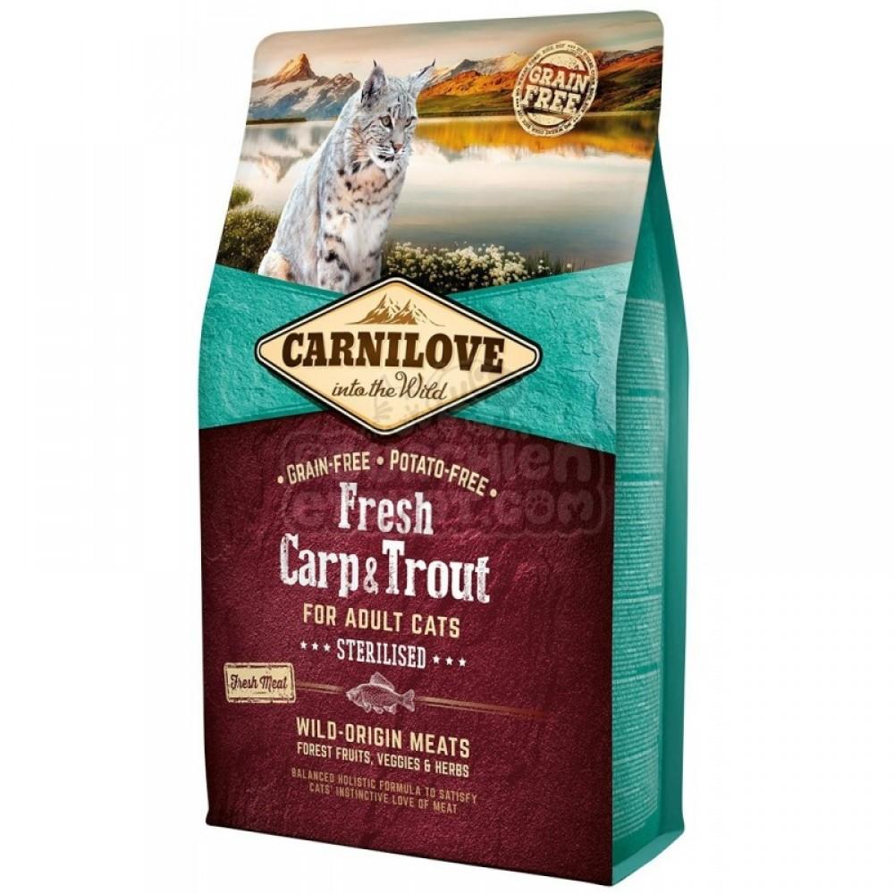 Сухой корм для стерилизованных кошек Carnilove Fresh Carp and Trout Sterilised for Adult cats, с карпом и форелью