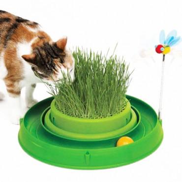 Игрушка для кота Catit 3in1 круглый лабиринт с шариком и травяной грядкой (43002)
