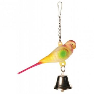 Игрушка для птиц Trixie Попугайчик с колокольчиком на цепочке, 9 см (5309)