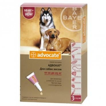 Капли от блох и клещей для собак 10-25 кг Bayer Advocate, 3 пипетки