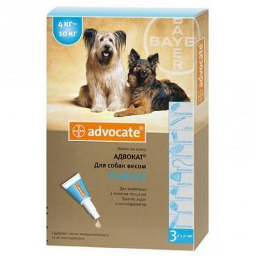 Капли от блох и клещей для собак 4-10 кг Bayer Advocate, 3 пипетки