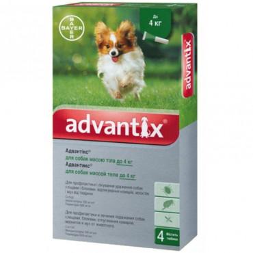 Капли от блох и клещей для собак до 4 кг Bayer Advantix, 4 пипетки