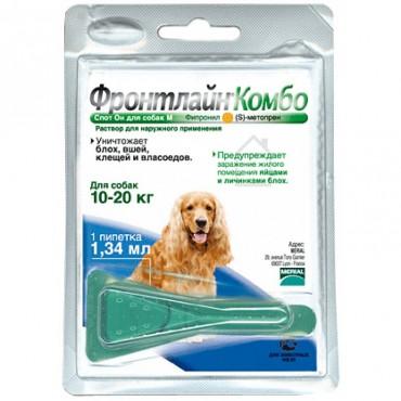 Капли от блох и клещей для собак от 10 до 20 кг (M) Frontline Комбо Спот Он, 1 пипетка (25475)