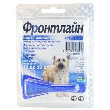 Капли от блох и клещей для собак от 10 до 20 кг (M) Frontline Спот Он (25485)