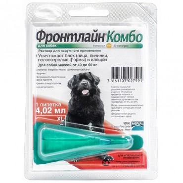 Капли от блох и клещей для собак от 40 до 60 кг Frontline Комбо Спот Он XL, 1 пипетка (25477)