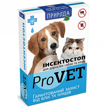 Капли от блох и клещей для взрослых кошек и собак ProVET Инсектостоп 6 пипеток (PR020026)