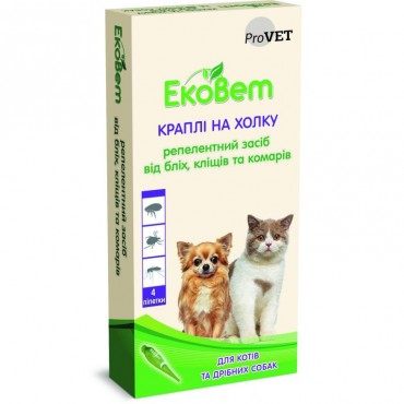 Капли от блох и клещей ЕкоВет для котов и малых пород собак, 4 пипетки (PR241110)