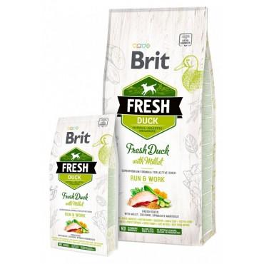 Корм для взрослых собак Brit Fresh Duck/Millet Active Run and Work