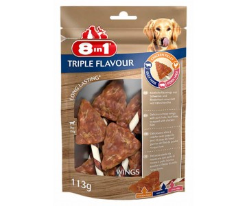 Лакомство для собак 8in1 Triple Flavour Крылышки, 6 шт, 113 г, (661434/144663)