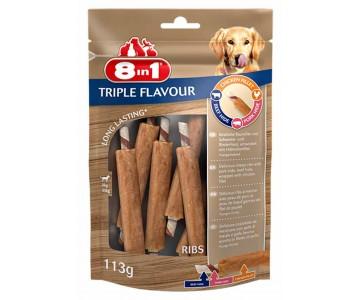 Лакомство для собак 8in1 Triple Flavour Ребрышки, 6 шт, 113 г, (661435/144700)