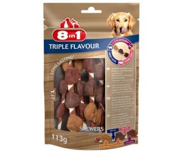 Лакомство для собак 8in1 Triple Flavour Шашлычки, 6 шт, 113 г (661433/144632)