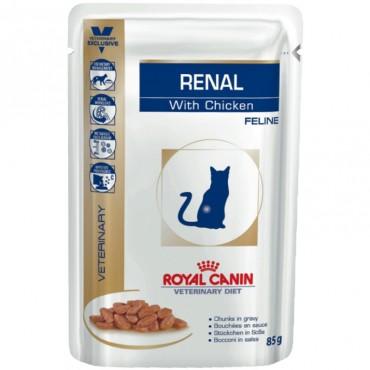 Лечебные консервы для кошек Royal Canin RENAL FELINE CHICKEN Pouches, 85 гр