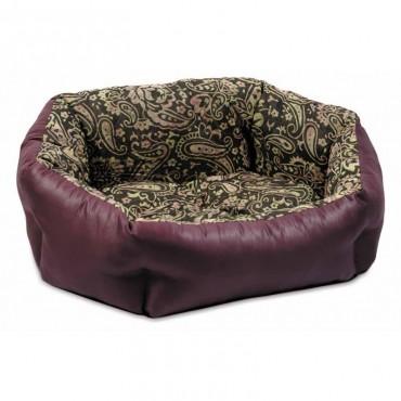 Лежак для кошек и собак Природа КОКОС, орнамент-бордо