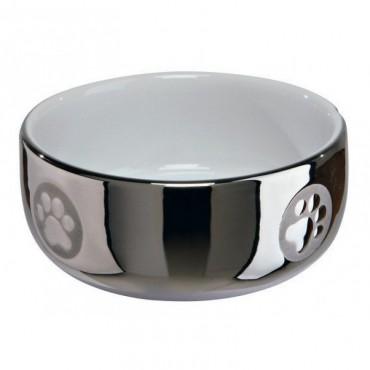 Миска керамическая для кошек Trixie, серебро/белая 0,3 л (24799)