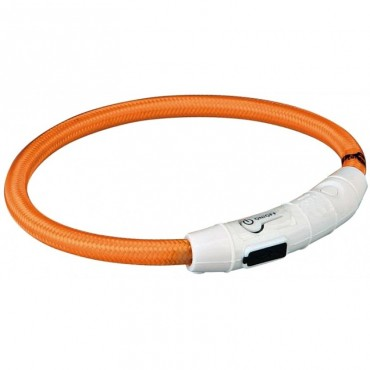 Ошейник светящийся для собак Trixie с USB оранжевый L-XL (65cм/7мм) (12705)