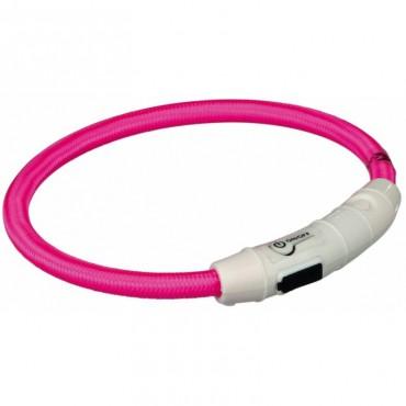 Ошейник светящийся для собак Trixie с USB розовый