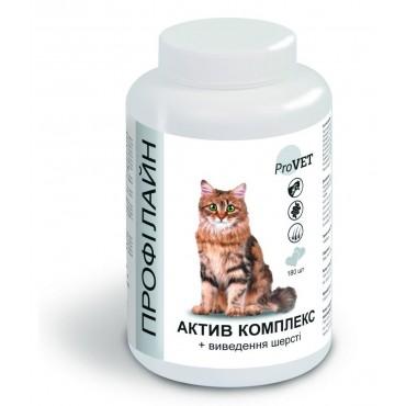 Витаминно-минеральная добавка для котов ProVET Профилайн Актив комплекс + выведение шерсти 180 табл (PR241873)
