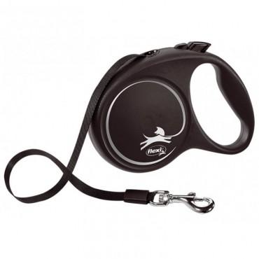 Рулетка для собак Flexi BLACK DESIGN L 5 м до 50 кг (лента) черная (FL 034101)