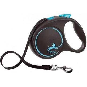 Рулетка для собак Flexi BLACK DESIGN M 5 м до 20 кг (лента) синяя (FL 034033)