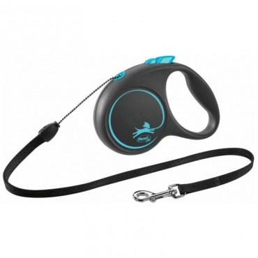 Рулетка для собак Flexi BLACK DESIGN M 5 м до 20 кг (трос) синяя (FL 033432)