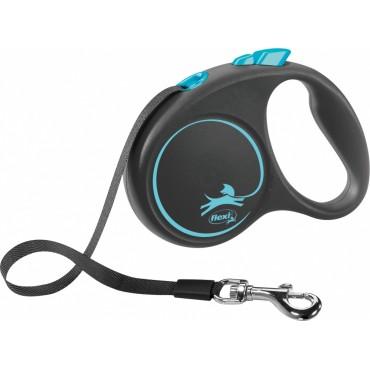 Рулетка для собак Flexi BLACK DESIGN S 5 м до 15 кг (лента) синяя (FL 033937)