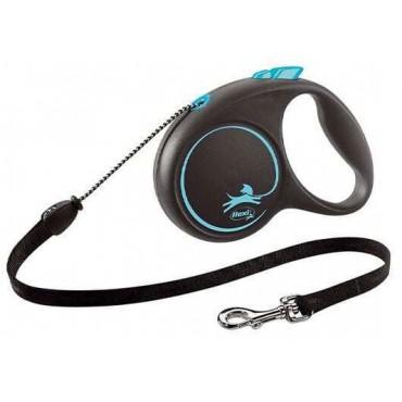 Рулетка для собак Flexi BLACK DESIGN S 5 м до 12 кг (трос) синяя (FL 033333)