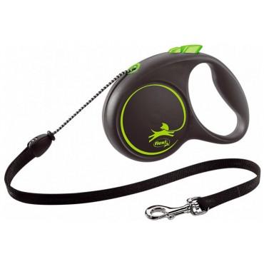 Рулетка для собак Flexi BLACK DESIGN S 5 м до 12 кг (трос) зеленая (FL 033326)