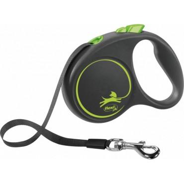 Рулетка для собак Flexi BLACK DESIGN S 5 м до 15 кг (лента) зеленая (FL 033920)
