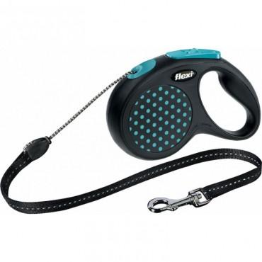 Рулетка для собак Flexi Design S 5м/12кг, трос синий горошек (12172)