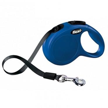 Рулетка для собак Flexi New Classic M 5 м/20 кг, лента синяя (11712 Blue)