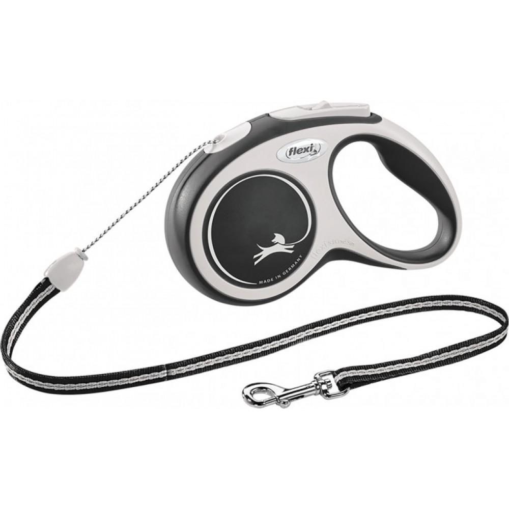 Рулетка для собак Flexi New Comfort S 5 м/12 кг, трос черная (FL 042847)