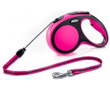 Рулетка для собак Flexi New Comfort S 5 м/12 кг, трос розовая (FL 042809)