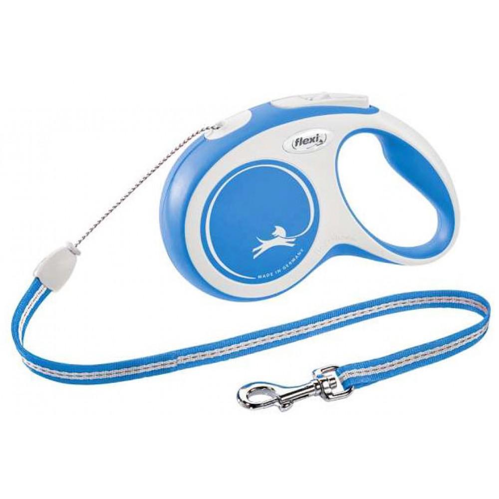 Рулетка для собак Flexi New Comfort S 5 м/12 кг, трос синяя (FL 042830)