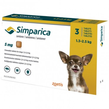 Симпарика для маленьких собак от 1,3 до 2,5 кг, 3 таблетки