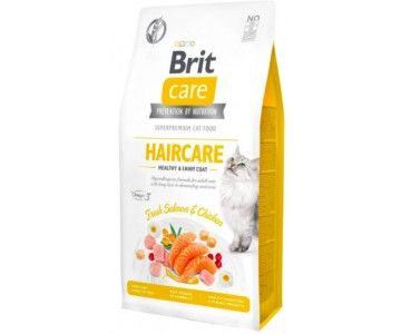 Сухой корм для кошек Brit Care Cat GF Haircare Healthy and Shiny Coat, (курица и лосось)