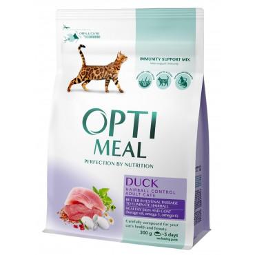 Сухой корм для кошек с эффектом выведения шерсти Optimeal со вкусом утки
