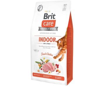 Сухой корм для кошек, живущих в помещении Brit Care Cat GF Indoor Anti-stress (курица)