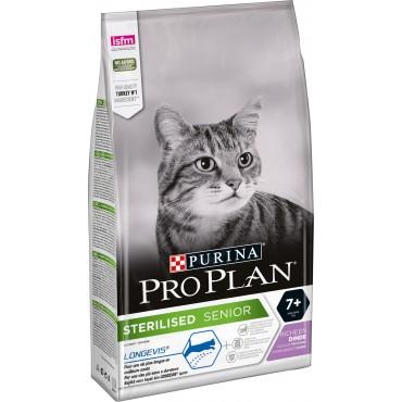 Сухой корм для стерилизованных кошек старше 7 лет Purina Pro Plan Sterilised Senior с индейкой
