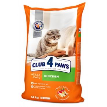 Сухой корм для взрослых кошек Клуб 4 лапы Premium с курицей 14 кг