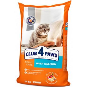 Сухой корм для взрослых кошек Клуб 4 лапы Premium с лососем 14 кг