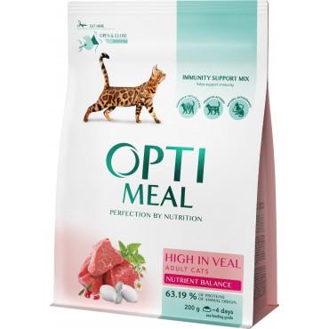 Сухой корм для взрослых кошек Optimeal со вкусом телятины