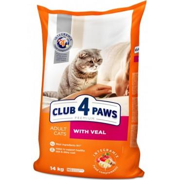 Сухой корм для взрослых кошек с телятиной Клуб 4 Лапы Premium 14 кг