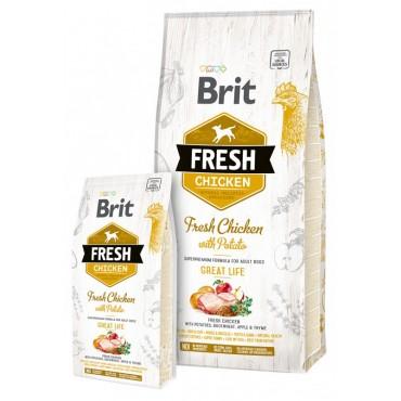 Сухой корм для взрослых собак Brit Fresh Chicken with Potato Adult Great Life