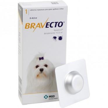 Таблетки от блох и клещей для собак Bravecto от 2 до 4,5 кг, 1 таблетка