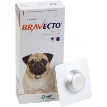 Таблетки от блох и клещей для собак Bravecto от 4,5 до 10 кг, 1 таблетка