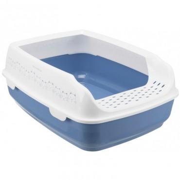 Туалет для кошек Trixie Delio с рамкой, 35*20*48 см, синий/белый (40391)