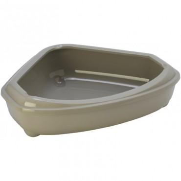 Угловой туалет для кошек Moderna Cozy с бортиком теплый серый (C146330)