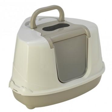 Угловой закрытый туалет для кошек Moderna ФЛИП КЭТ теплый серый (C250330)